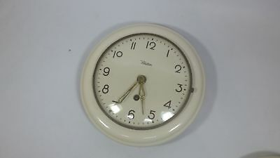 Ruka Kitchen Clock Wall Manual Winding Porcelain Glass Vintage Old Rockabilly