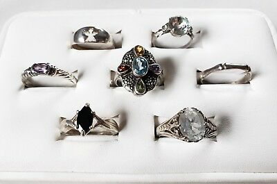 Lot 7 Sterling Silver 925 Vintage Antique Rings Stones Signed Avon NF MWS Kabana