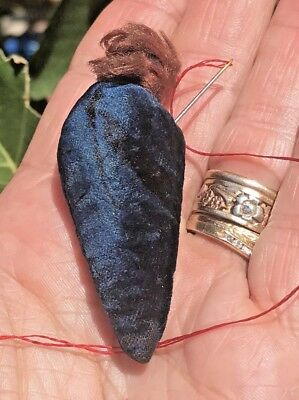 Antique Embossed Velvet Strawberry Sewing Pin Needle Emery ~ Deep Blue ~ LOVELY