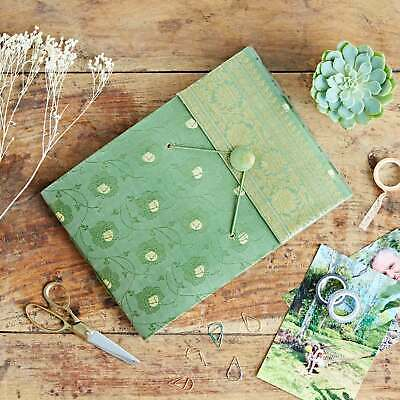 Fair Trade Handmade Medium Green Sari Photo Album, Scrapbook 2nd Quality