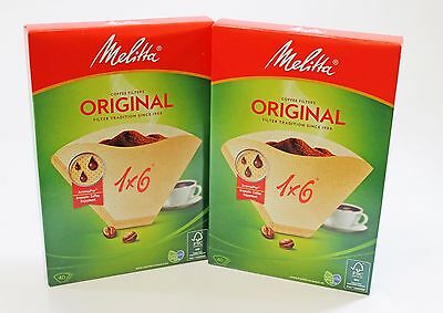 Genuine Melitta 1x6 Coffee Machine Brown Paper Filters (2X 40 PACK) MEL6761343X2