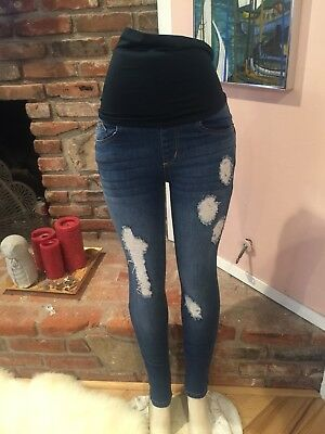 Haute Mama Dark Blue Factory Distressed Maternity Skinny Jeans Size S