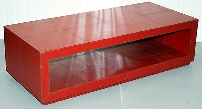 Vintage Andrew Martin Huge 180Cm X 80Cm Solid Wood Leather Stitched Coffee Table