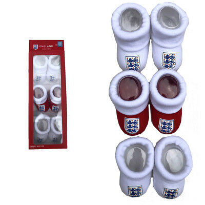 England Official Baby Bootie Set x 3 Pairs Red White 0-6 Months Gift Boxed