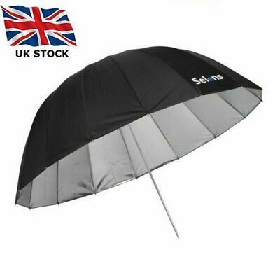 Selens 165cm Parabolic Black&Sliver Reflective Umbrella Photo Studio Diffuser UK