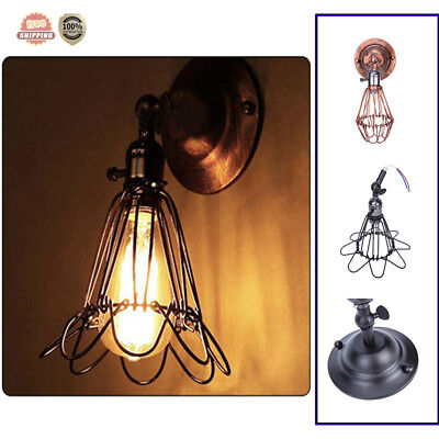 Vintage Industrial Wall Lamp Wire Bird Cage Wall Sconce Lights Shade Fixture New
