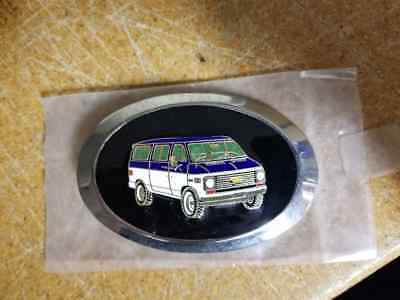 Vintage Chevrolet Van Enamel Belt Buckle Custom GMC - Never Used Blue and White