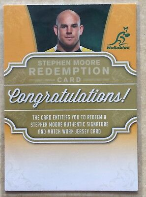 2017 Tap N Play Rugby Union Stephen Moore Wallabies Signatures Jersey Redemption