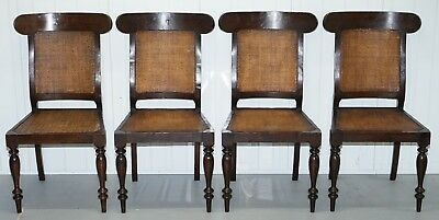 Set Of 4 Antique Colonial Teak And Berger Rattan Dining Chairs Sculpted Frames