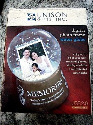 "Digital Photo Frame in a Snow Globe, Water Globe, Unison Inc "" Family"" Style NEW"