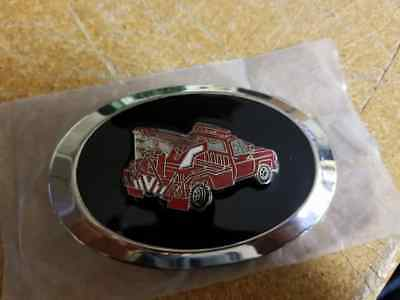 Vintage Red GMC Chevrolet Tow Truck Enamel Belt Buckle  - Never Used