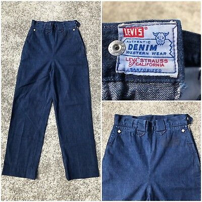 Vintage Vtg Levi's 1950s Western Shorthorn Sanforized Denim High Waisted Jeans