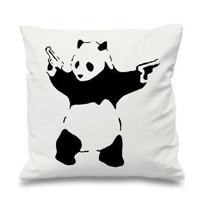 (White) - Banksy Panda With Pistols 46cm x 46cm Filled Sofa Throw Cushion