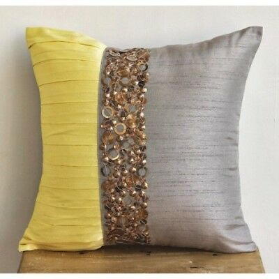 (36cm  x 36cm ) - Yellow Treasures - Decorative Pillow Covers - Silk Pillow