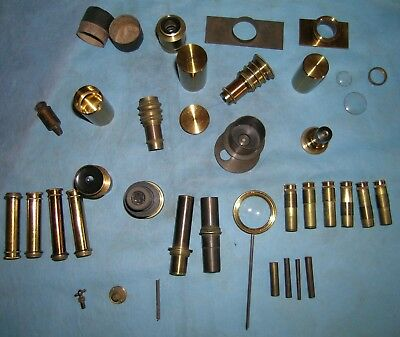Assorted brass parts, lenses for Antique Microscopes