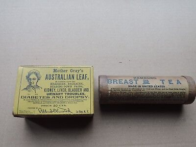 2 antique medicine boxes and content