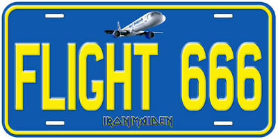 Flight 666 Iron Maiden Aluminum Novelty Tag Car License Plate