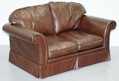 Laura Ashley Heritage 100% Cattle Hide Leather Two Seat Sofa Matching Armchair