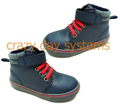 Faded Glory Mid Cut Blue Red Slip On Casual Boots/Shoes  8, 9 Toddler Boy NEW