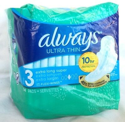 Always Ultra Thin Pads Size 3 Extra Long Super Absorbency with Wings 14 Pads