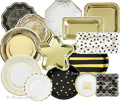 BLACK GOLD Party PLATES Supplies Tableware Wedding Birthday Tea Hen Party Foiled