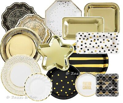 Black Gold Birthday Party Decorations Plates Cups Napkins Table Cover Hollywood