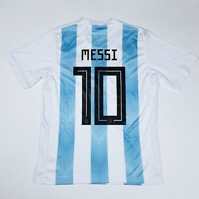 a53644abc Men s MESSI  10 2018 World Cup Argentina Striped White   Blue Soccer Jersey