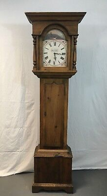 Antique style pine long case - grandfather clock #1842U