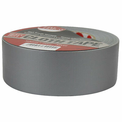 50Mm X 50M Duck Duct Gaffa Gaffer Cloth Grey Waterproof Silver Tape Roll Repair