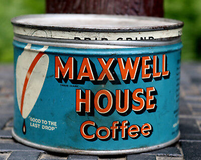 Vintage Maxwell House Coffee One Pound Round Tin Can with Metal Cover
