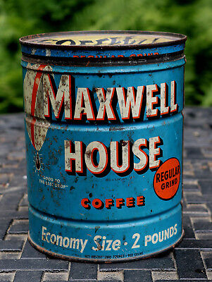 Vintage Maxwell House Coffee Two Pound Round Tin Can with Metal Cover