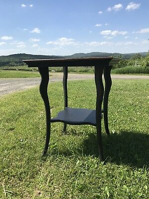Antique wooden two-tier square side table