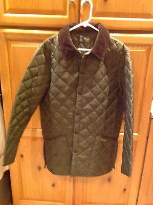 Mens Barbour Liddesdale Classic Green Quilted Outdoor Jacket Cord Collar MEDIUM