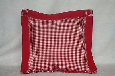 22x22 Cotton Pillow Handspun Cotton Gingham Pillows and Shams in Red Colour