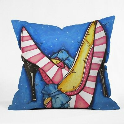 (46cm  by 46cm ) - DENY Designs Madart Diva Slippers Throw Pillow. Free Delivery