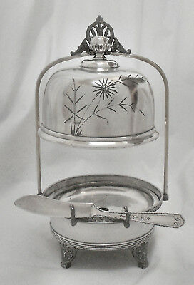 Atq AURORA Quad Slv Plate Cheese/Butter Server Stand wHanging Lid +Butter Knife