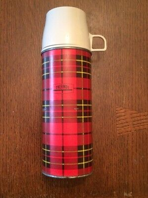 Vintage Red Plaid Metal King Seeley Thermos 1964 No. 2242