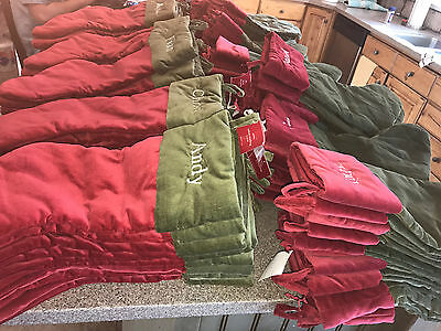 8a1320140 Pottery Barn New Velvet Basic Christmas Stocking Green with Red Cuff Choose  Name