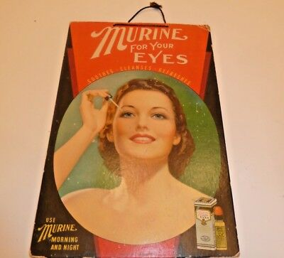 Vintage Cardboard Wall Sign Advertisng Murine For Your Eyes With Pretty Lady