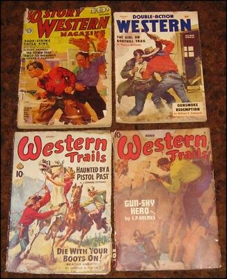 4 WESTERN PULPS ~ Double Action, Western Trails and 10 Story Western 1940s-50s