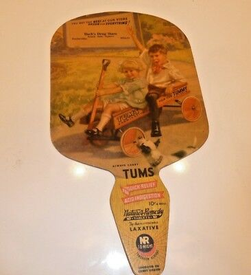 Vintage Cardboard Fan Advertisng Tums for the Tummy And Nature's Remedy Laxative