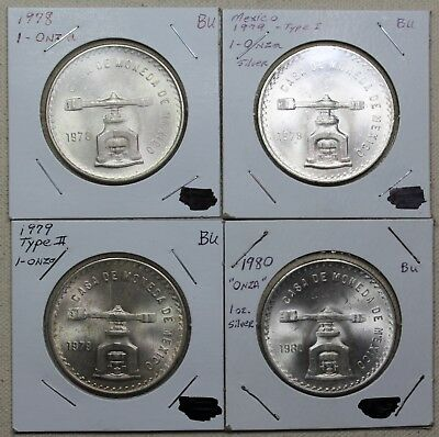 1978-1980 Mexico Una Onza- Lot of 4 Coins (All different dates/varieties)