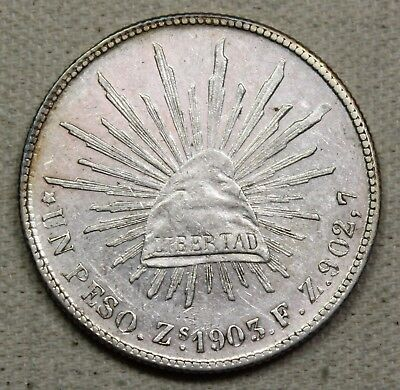 1903 ZS FZ Mexico 2nd Republic Peso Caps and Rays AU
