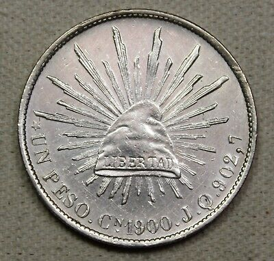 1900 CN JQ Mexico 2nd Republic Peso Caps and Rays