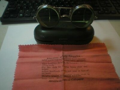 American Optical Co. Duralite all metal safety goggles steam punk vintage w/case