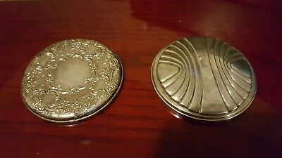 Lot of 2 Vintage Repousee Towle Sterling Silver 925 Compact Hand Mirror