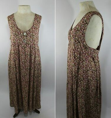 Vintage 1990's Express Womens Small Floral Babydoll Overall Jumper Midi Dress