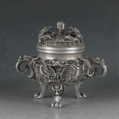 Chinese Silvering Copper Dragons Incense Burner Made During The DaQing Qianlong+