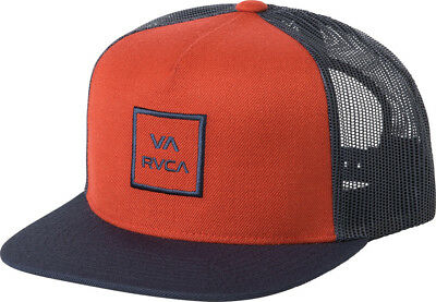 classic fit 26d50 e7985 RVCA All the Way Trucker Hat Navy Blue Red Snap Back Cap Snapback