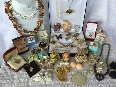 Bulk Collection of Vintage Jewellery #A necklace rings earrings brooches & More